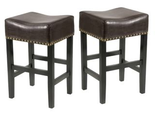 louigi 30 inch Brown Backless leather Bar Stool  Set of 2  by Christopher Knight Home  Retail 176 56