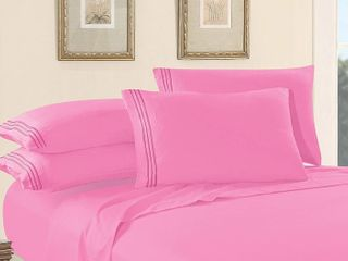 Elegant Comfort 1500 Thread Count luxury Egyptian Quality Wrinle and Fade Resistant 4 Piece Bed Sheet Sets with Deep Pockets  Queen  light Pink