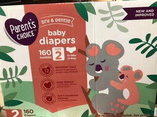 Parent s Choice Dry and Gentle Baby Diapers  Size 2  160 Count