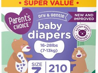 Parent s Choice Dry and Gentle Baby Diapers  Size 3  210 Count