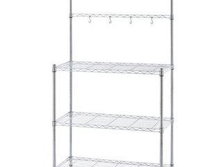 Mainstays Metal Bakeras Rack with Wood Shelf