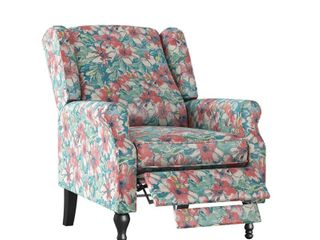 Homesvale Elmina Wingback Push Back Recliner Chair in Floral Bouquet Print