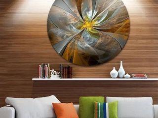 Designart  Symmetrical Yellow Fractal Flower  Digital Art Circle Metal Artwork