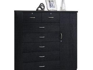 Hodedah Imports 7 Drawer 1 Door Chest