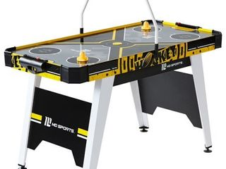 MD Sports 54  Air Powered Hockey Table with Overhead Electronic Scorer  Accessories Included  Black Yellow