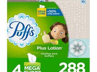 4 pack TissuePuffs Plus Mega lotion Facial Tissue   4pk 288ct