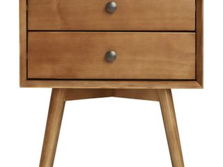 MCM 2 Drawer Solid Wood Nightstand   Caramel