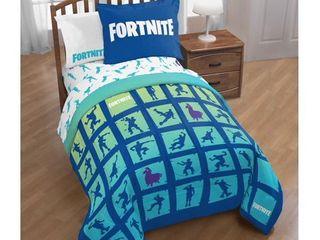 Fortnite Boogie Twin Full Reversible Comforter   Sham Set
