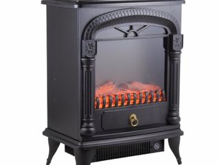 Comfort Zone CZFP4 Electric Fireplace Stove Heater  Black