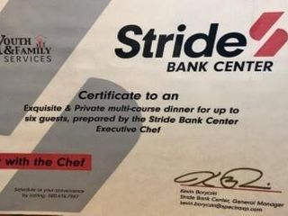 Private Dinner w  Stride Bank Center Exec  Chef