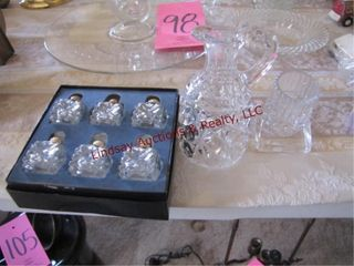 Group of clear glass S P shakers  creamer   other