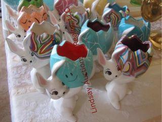 11 ceramic bunny egg holders