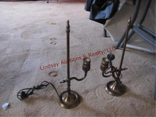 2 brass lamps approx 13  tall