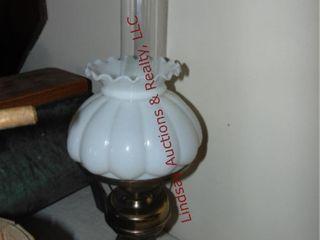 Brass elec lamp w  milk glass globe   glass chimny