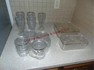 17pcs clear glass  parfait glasses  cannister set