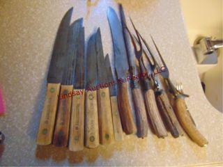 6 old hickory knives   5 antler handle utensils