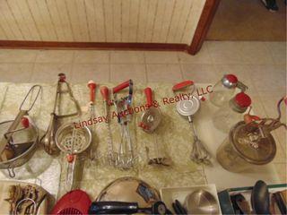 11pcs of red handled kitchen utensils  mixers
