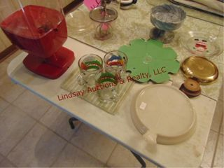 Group of misc  garfield glasses  marble dishes