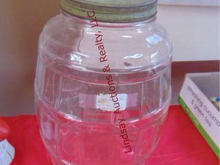 Green lid pickle jar 13 5  tall