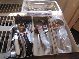 4 flats of misc flatwear ss   silver plated