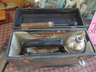 VIntage steam iron in wood box