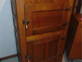 2 door vintage oak ice box 30 5 x 20 5 x 50