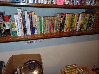 2 shelves of story books  handyman  gardening