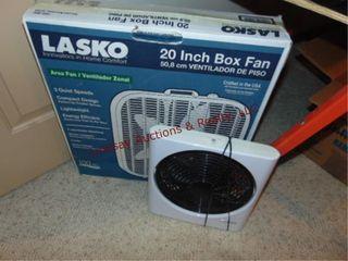 lasko 20  box fan   sharper image 10  fan