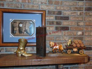 Wood horse   wagon  brass CB boot