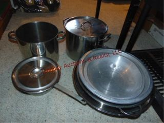 2  stock pots  strainer  ss mixing bowl