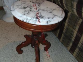 Marble top table 14  round x 19  tall