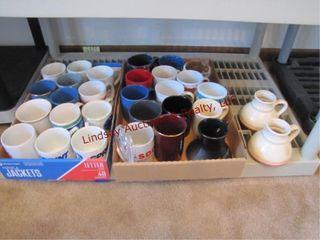 2 flats of misc coffee mugs