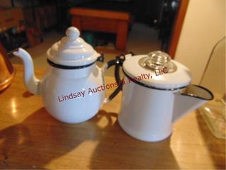 Pair of granite tea   coffee pot