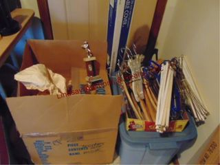 Boxes of trophies  hangers   table coverings