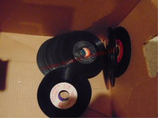 Box of record albums   45s