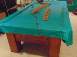 Oak pool table w  leather pockets 102 x55 5  w