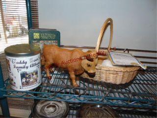 2 collectors tins w  puzzles  bull statue  hook