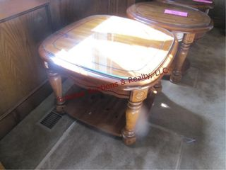 End table w  glass top 27 x 27 x 20