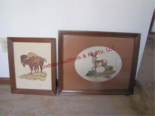2 crosstitch photos Buffalo   Buck 22x19   13 5x17