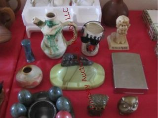 Group  marble eggs  decorative vases  pottery