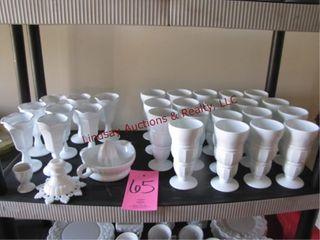 Approx 31 pcs milk glass SEE PICS