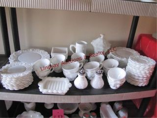 Approx 60pcs of milk glass  grape pattern  SEE PIC