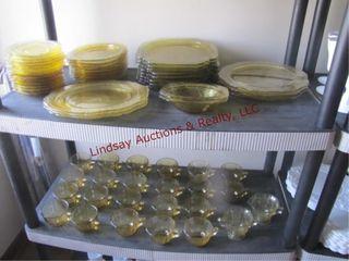 Approx 63 pcs yellow depression glass SEE PICS