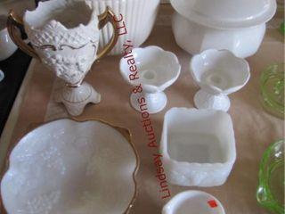 9 pcs various milk glass SEE PICS