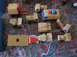 Approx 10 1970 Matel wood   plastic toy trucks