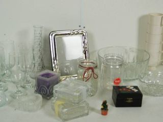 lot of Misc  Items   Glasses  Wine Glasses  Frame  Glass Dishes and More  See Photos
