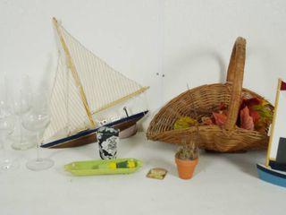 Wine Glasses  Boat Decor  Wicker Basket  Vintage Plastic Butter and Salt   Pepper Shakers