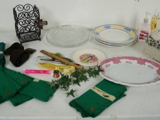 lot of Plates  Utensil Holder  Material Napkins  and More