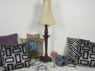 lot of Nice Pillows  Table lamp  Clocks