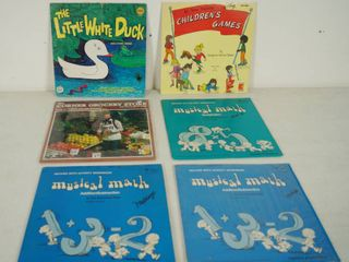lot of 6  Vintage Vinyl Records   The little White Duck  Children s Games  Musical Math  etc  See Photos